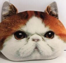 """EXPRESSIONS PLUSH DECORATIVE PILLOW Cat Head Exotic Shorthair 12"""" Brown"""