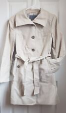 NWOT ANN TAYLOR SIZE 2 CREAM IVORY COTTON POLYESTER TRENCH COAT FALL WINTER