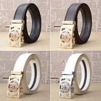 Men's Belts Gold/Silver  Wolves Head Automatic Buckle Flux Leather Strap Belts
