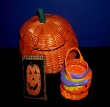 Assorted Halloween Items - Wicker Pumpkin -Vntg Plastic Pumpkin - Mini Pillow