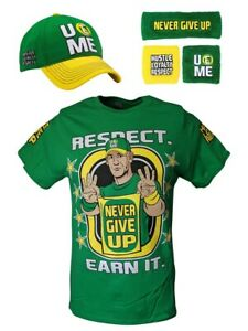 John Cena Earn The Day Mens Costume T-shirt Baseball Hat Headband Wristbands