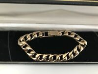 Stunning Heavy Mens Gents 9ct Gold Solid Curb Link Bracelet VGC
