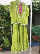 Girls Mexican Folkloric Dress Green 10-12 Years Old