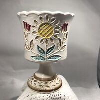 Vintage Ivory Napcoware Pedestal Dish Tulip Vase Planter Yellow Flower Goblet