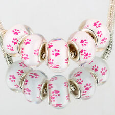 Dog footprints 5pcs SILVER MURANO bead LAMPWORK fit European Charm Bracelet DIY