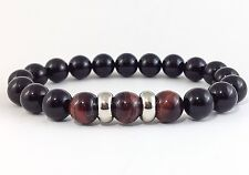MEN'S Black Onyx Red Tiger Eye Gemstone Beaded Stretch Silver Jewelry Bracelet