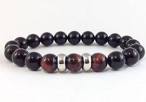 MEN'S Black Onyx Red Tiger Eye Gemstone Beaded Stretch Silver Jewelry Bracelet
