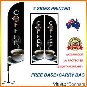 COFFEE Deluxe Double-Sided Print Feather Bow Banner Flag Kit Set Business Sign