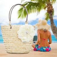 Lady Summer Beach Straw Flower Woven Crossbody Shoulder Bag Women Travel
