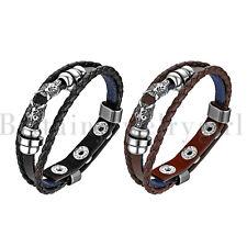 2pcs Vintage Wolf Head Leather Wrist Cuff Wrap Bracelet Adjustable for Men Women
