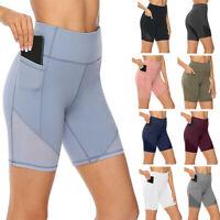 Women's High Waist Running Yoga Shorts Pocket Gym Stretch Leggigns Sports Pants