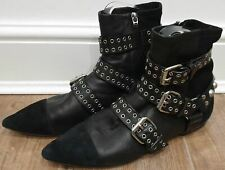 ISABEL MARANT Black Leather & Suede Silver Tone Stud Buckle Biker Ankle Boots 8