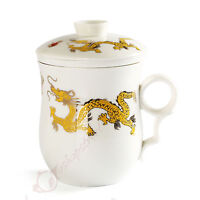 270ml Golden Dragon Ceramic White Porcelain Tea Cup Coffee Mug lid Infuser Filte
