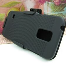 Black Hard Impact Cover Case+Belt Clip Holster for Samsung Galaxy S5 Mini G800