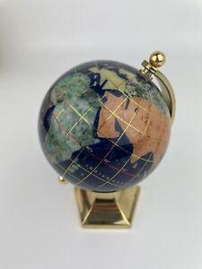"Genuine Multi-Gemstone Desktop Globe Gift Brass Base Lapis Blue 6"""