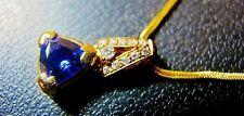 14K GOLD 9MM TANZANITE & DIAMOND PENDANT & CHAIN VERY ELIGANT THICK MOUNTING