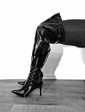 Black Thigh High Fetish Dominatrix Wide Width Calf Shaft Drag Queen Boots Heel W