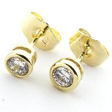 STUD EARRINGS REAL 18K YELLOW G/F GOLD LADIES DIAMOND SIMULATED DESIGN FS3AN962