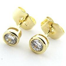 Gold Ladies Diamond Simulated Design Fs3An962 Stud Earrings Real 18K Yellow G/F