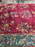 Genuine Vintage c. 1920s NICHOLS Chinese Deco Wool Carpet 9' x 11'