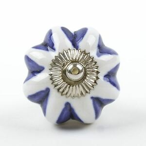 Blue White Navy Ceramic Door Knobs Handles Furniture Drawer Pulls Cupboard