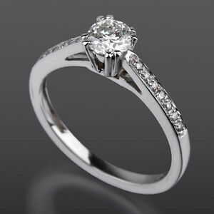 1.15 CT DIAMOND SOLITAIRE AND ACCENTS RING 14 KT WHITE GOLD VVS ROUND 8 PRONG