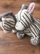 "2 Mothercare zebra soft toy cuddly comforter plush 10"" tall  doudou stuffed A2"