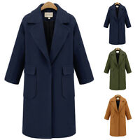 Women Lady Lapel Wool Coat Trench Jacket Long Parka Overcoat Oversized Outwear