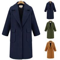2017 Women Winter Wool Lapel Long Slim Trench Parka Coat Jacket Overcoat Outwear