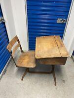 Vintage Child School Desk Attached Swivel Chair Wood Iron St. Raphael's Madison