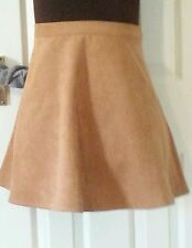 NEW LOOK Womens TAN Faux Suede Leather SKIRT uk12 eu38 us8 Waist w28ins w71cms