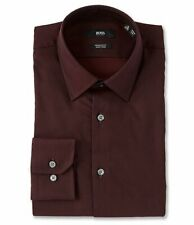 HUGO BOSS ENZO BLACK LABEL DRESS SHIRT REGULAR FIT POINT COLLAR SOLID RED -NWT