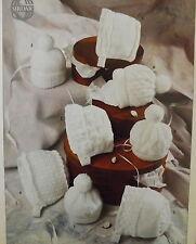 Baby Bonnets Knitting Pattern Vintage Bobble Hat Cap Lacy Double Knit/4Ply S3653