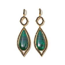 Rarities Carol Brodie Malachite & Black Spinel Vermeil Drop Earrings HSN $259.90