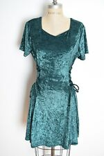 vintage 90s dress forest green crushed velvet lace up corset grunge goth mini M