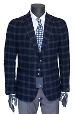 NWT TMB TOMBOLINI BLAZER jacket coat wool blue grey check Italy eu 54 us 44