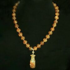 Rare Old Chinese Jade? Pipe, Carved Dog, Carved Gold Carnelian Shou Necklace