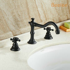 Solid Brass Mixer Tap Oil Bronze Brass Three Holes Basin Faucet Two Handles