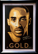 Kobe Bryant Signed 20x30 Shepard Fairey poster INS gold framed 2 auto UDA COA LE