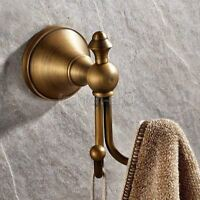 Antique Brass Wall Mount Bathroom Towel Coat Hooks Dual Robe Hook Hanger fba146