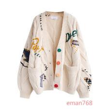 Women Cardigan Warm Knitted Sweater Jacket Embroidery Fashion Pocket Knitwear Sz