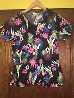 Disney Tinker Bell Scrub Top Size XS Womens Cotton Short Sleeve Butterflies