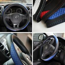 Black + Blue PVC Leather Steering Wheel Cover w/Needle & Thread DIY Chevy Dodge