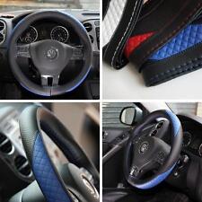 Black + Blue PVC Leather Steering Wheel Cover w/Needle & Thread DIY Chevy Dodge