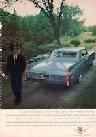 1963 Cadillac PRINT AD Features Big Light blue 2 door