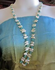 Biwa Pearl & Turquoise Howlite Endless Necklace 40 inches