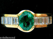 █$7000 NATURAL 2.20CT VIVID GREEN EMERALD DIAMOND RING BAGUETTE VS█