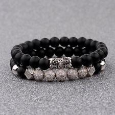 Men Luxury Silver Micro Pave CZ Ball Crown Bracelet Jewelry Matte Agate Bead Set