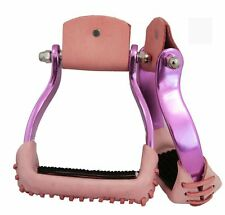 Aluminum Barrel Racing Stirrups Leather Tread with Stitched on Rubber Pad Purple