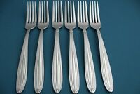"""6 Large Dinner Forks Reed & Barton JUBILEE Stainless Ridges China NEW 8"""""""